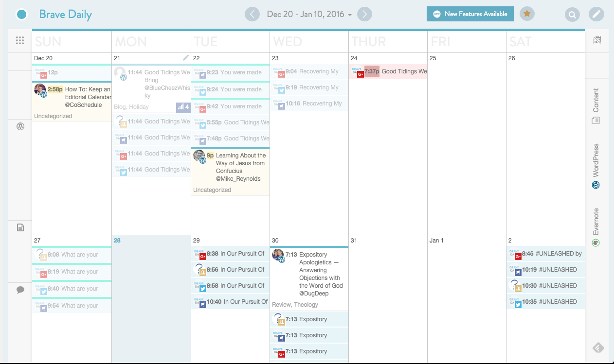 wordpress editorial calendar coschedule